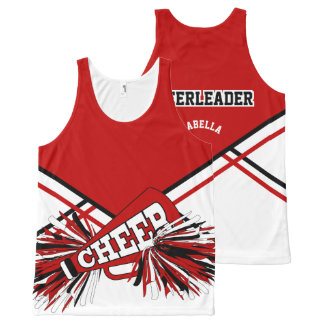Cheerleader -Red, White & Black All-Over-Print Tank Top