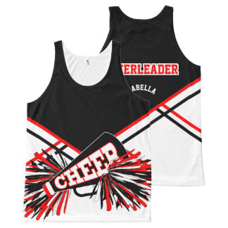 Cheerleader - Red, White & Black All-Over-Print Tank Top