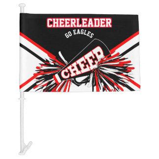 Cheerleader - Red, White & Black Car Flag