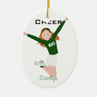 Cheerleader Redhead Green & White Ceramic Ornament