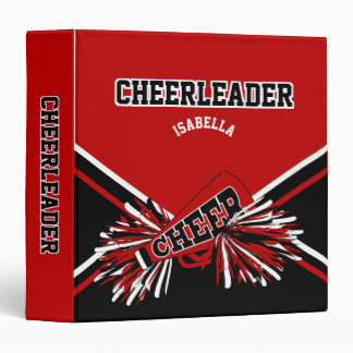 Cheerleader School Colors Black, White & Dark Red 3 Ring Binder