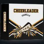 """Cheerleader School Colors Black, White &amp; Gold Binder<br><div class=""""desc"""">Cheerleader Album 2 inch Binder in gold, white and black with DIY text. 100% Customizable. Ready to Fill in the box(es) or Click on the CUSTOMIZE button to add, move, delete or change any of the text or graphics. Made with high resolution vector and/or digital graphics for a professional print....</div>"""