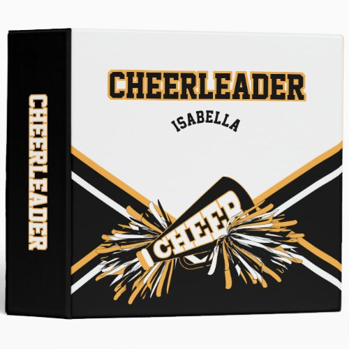 Cheerleader School Colors Black, White & Gold Binder