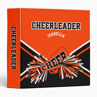 Cheerleader School Colors Black, White & Orange 3 Ring Binder