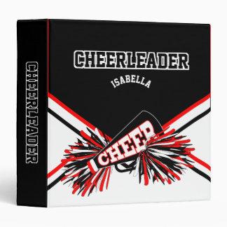 Cheerleader - School Colors - Black, White & Red Binder