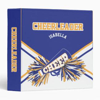 Cheerleader - School Colors - Blue, White & Gold 3 Ring Binder