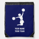 Cheerleader Silhouette On Blue Backpack at Zazzle