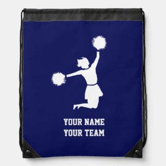 Cheerleader Silhouette On Blue Backpack