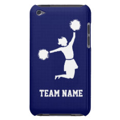 Cheerleader Silhouette On Casemate Ipod Case Blue at Zazzle