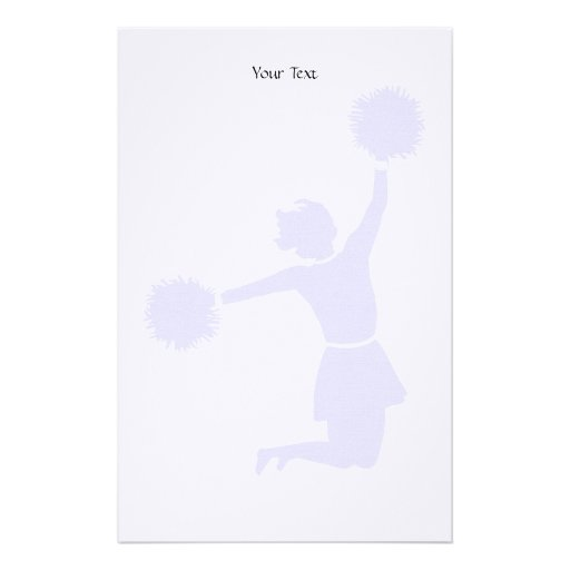 Cheerleader Silhouette With Poms On Stationery