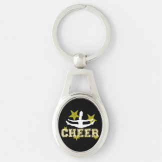Cheerleader Silver-Colored Oval Metal Keychain