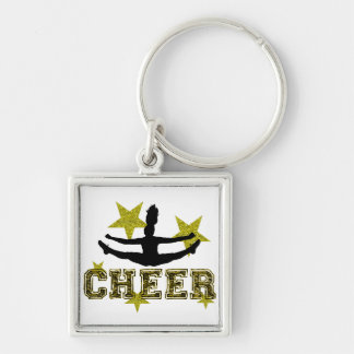 Cheerleader Silver-Colored Square Keychain