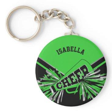 Beach Themed Cheerleader Spirit - Green, Silver and Black Keychain