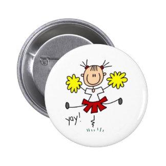 Cheerleader Stick Fgure Pinback Button