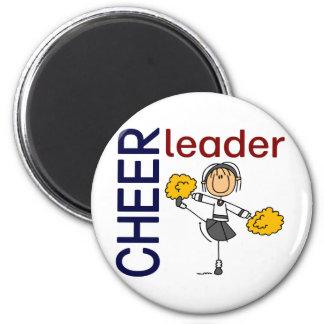 Cheerleader Stick Figure 2 Inch Round Magnet