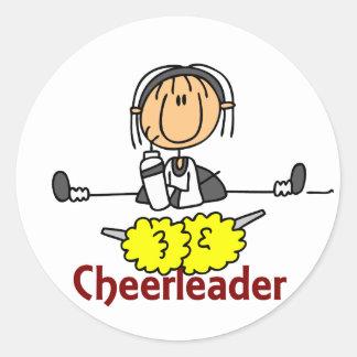 Cheerleader Stick Figure Classic Round Sticker