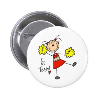 Cheerleader Stick Figure Pinback Button