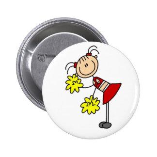 Cheerleader Stick Figure Pinback Button