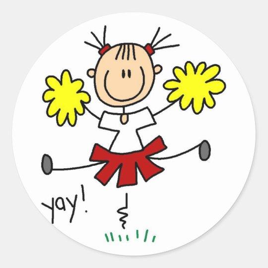 Cheerleader Stick Figure Sticker