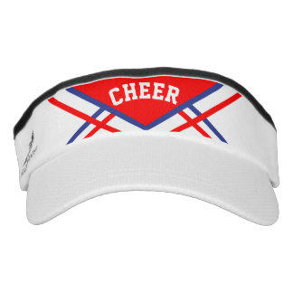 Cheerleader Styled Outfit in Red, White Blue Visor