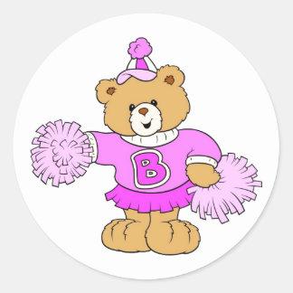 Cheerleader Teddy Bear Classic Round Sticker