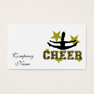 Cheerleader toe touch business card
