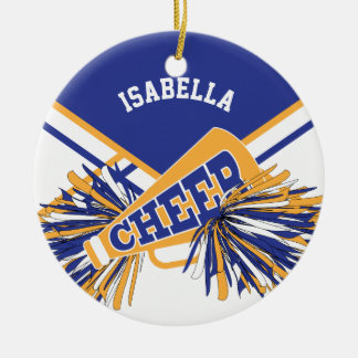 Cheerleader - White, blue and Gold Ceramic Ornament