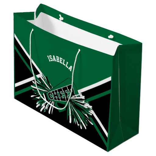Cheerleaders - Dark Green, Black, White - Large Large Gift Bag