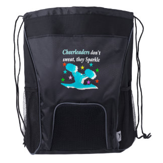 CHEERLEADERS DON'T SWEAT THEY SPARKLE DRAWSTRING BACKPACK