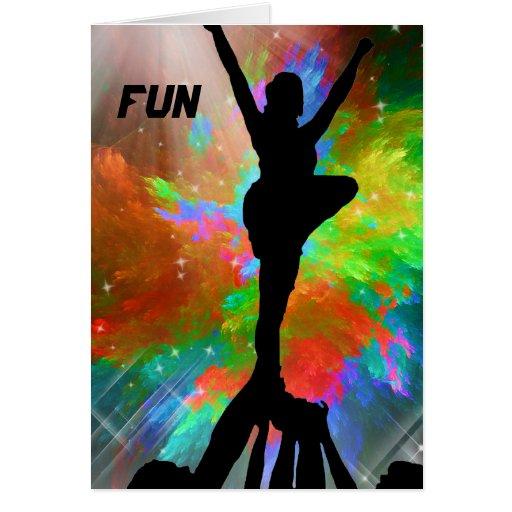 Cheerleaders in a Colorburst Invite Card