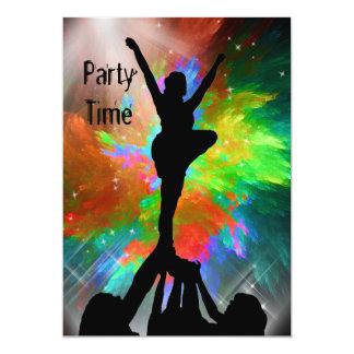 """Cheerleaders in a Colorburst Invite 5"""" X 7"""" Invitation Card"""