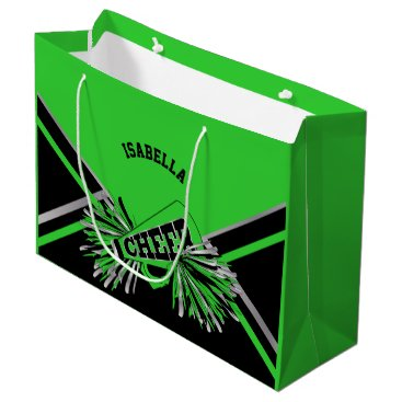 Beach Themed Cheerleaders - Lime Green, Black, Silver - Large Large Gift Bag