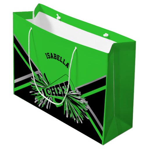 Cheerleaders - Lime Green, Black, Silver - Large Large Gift Bag