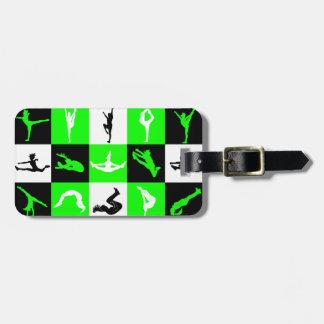 Cheerleading Block Luggage Tag in Green