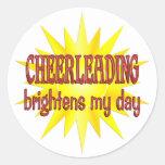 Cheerleading Brightens My Day Round Stickers