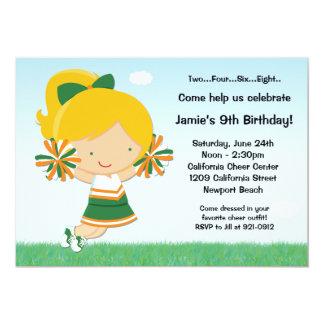 "Cheerleading Girls Birthday Party Invitation 5"" X 7"" Invitation Card"