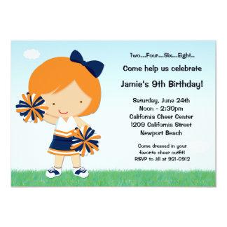 Cheerleading Girls Birthday Party Invitation