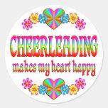 Cheerleading Heart Happy Stickers