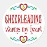 Cheerleading Warms My Heart Round Stickers