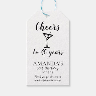 Cheers 40th Birthday Favor | Gift Tags