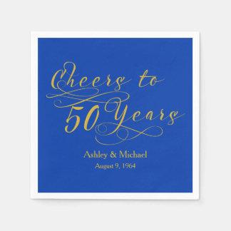 Cheers 50 Years Blue 50th Wedding Anniversary Napkin