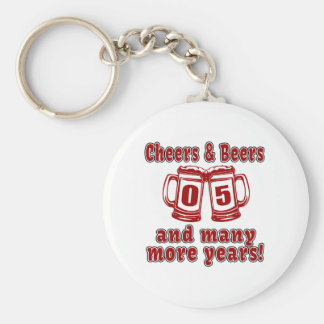 Cheers And Beers 05 Years Basic Round Button Keychain