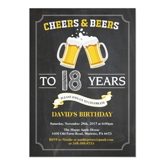 Cheers And Beers 18th Birthday Invitation Card Zazzle Com