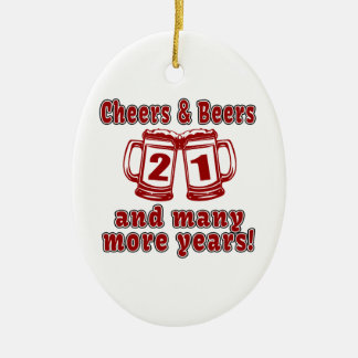 Cheers And Beers 21 Years Ceramic Ornament