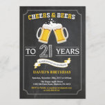"""Cheers and Beers 21st Birthday Invitation Card<br><div class=""""desc"""">Cheers and Beers 21st Birthday Invitation Card with chalkboard background. 16th 18th 21st 30th 40th 50th 60th 70th 80th 90th 100th. Any Age. For further customization,  please click the """"Customize it"""" button and use our design tool to modify this template.</div>"""