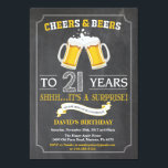 "Cheers and Beers 21st Birthday Invitation Card<br><div class=""desc"">Cheers and Beers 21st Birthday Invitation Card with chalkboard background. For further customization,  please click the ""Customize it"" button and use our design tool to modify this template.</div>"