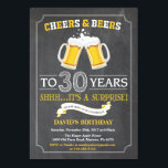 """Cheers and Beers 30th Birthday Invitation Card<br><div class=""""desc"""">Cheers and Beers 30th Birthday Invitation Card with chalkboard background. For further customization,  please click the """"Customize it"""" button and use our design tool to modify this template.</div>"""