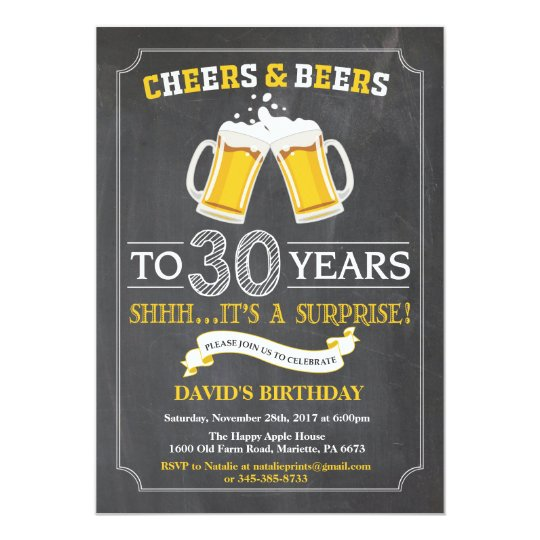 Cheers and beers 30th birthday invitation card zazzle cheers and beers 30th birthday invitation card stopboris Gallery