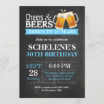 """Cheers and Beers 30th Birthday Invitation Card<br><div class=""""desc"""">Cheers and Beers 30th Birthday Invitation Card. Adult Birthday. Blue. 16th 18th 21st 30th 40th 50th 60th 70th 80th 90th 100th. Any Age. For further customization,  please click the """"Customize it"""" button and use our design tool to modify this template.</div>"""