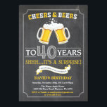 "Cheers and Beers 40th Birthday Invitation Card<br><div class=""desc"">Cheers and Beers 40th Birthday Invitation Card with chalkboard background. For further customization,  please click the ""Customize it"" button and use our design tool to modify this template.</div>"
